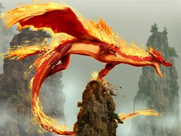 Dragon Flying with Fire