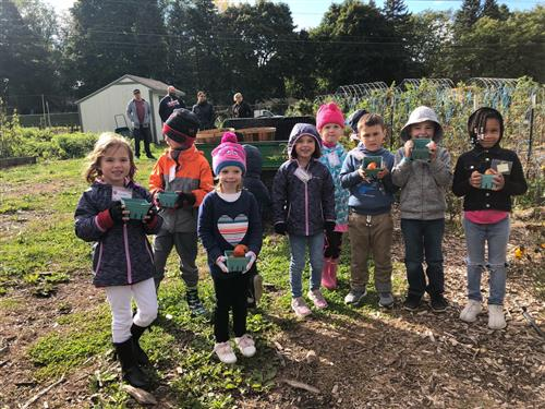Kindergartners at Bowers Farm