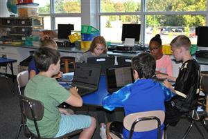 5th graders work on laptops
