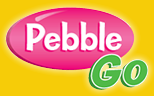 Pebble Go in a pink bubble on a bright yellow background