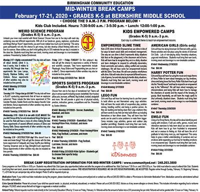 Mid-Winter Break Camp flyer