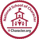 Pierce Students hold National School of Character Sign on playground