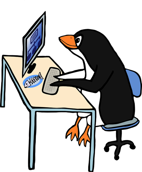 penguin at computer