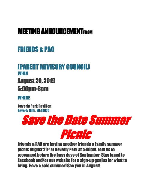 Friends & PAC Summer Picnic 2019