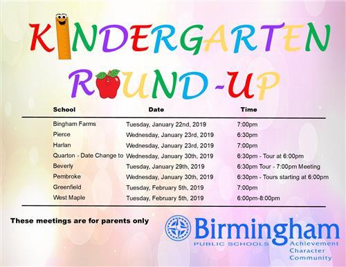 Kindergarten Round-Up Dates